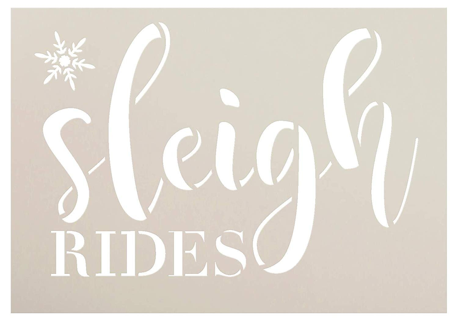 Sleigh Rides Snowflake Stencil by StudioR12   Christmas Winter Cursive Script   Reusable Mylar Template   Paint Wood Signs   Craft Holiday Home Decor   DIY Vintage Farmhouse   Select Size