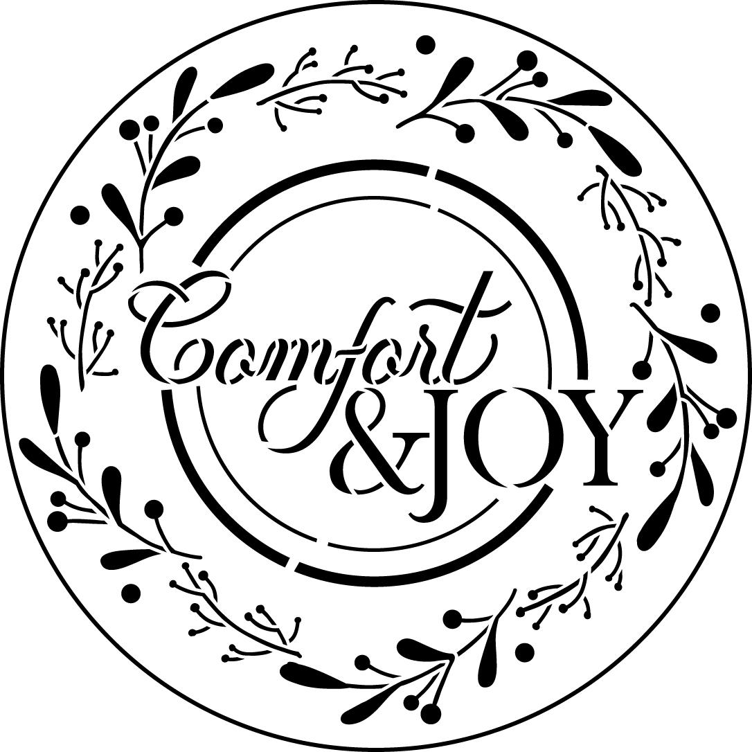Comfort & Joy Wreath Stencil by StudioR12 | Reusable Mylar Template | Paint Wood Sign | Craft Rustic Christmas Farmhouse Decor - Porch | Holiday DIY Winter Gift - Mistletoe | Select Size