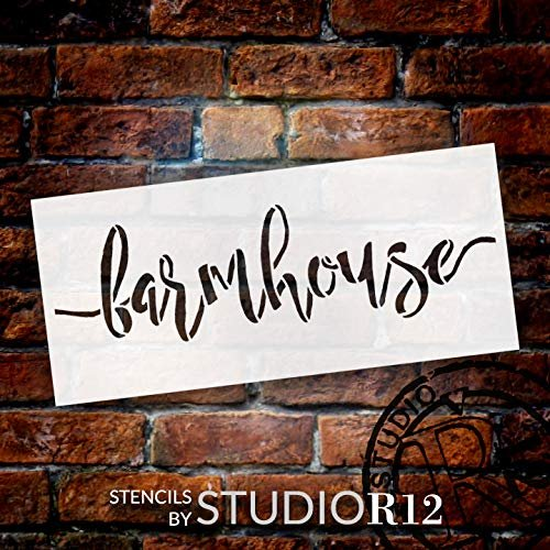 Farmhouse Stencil by StudioR12 | Cursive Script Reusable Mylar Template | Paint Horizontal Wood Sign | Craft Rustic Country Home Decor - Porch - Kitchen | DIY Farmhouse Gift | Select Size