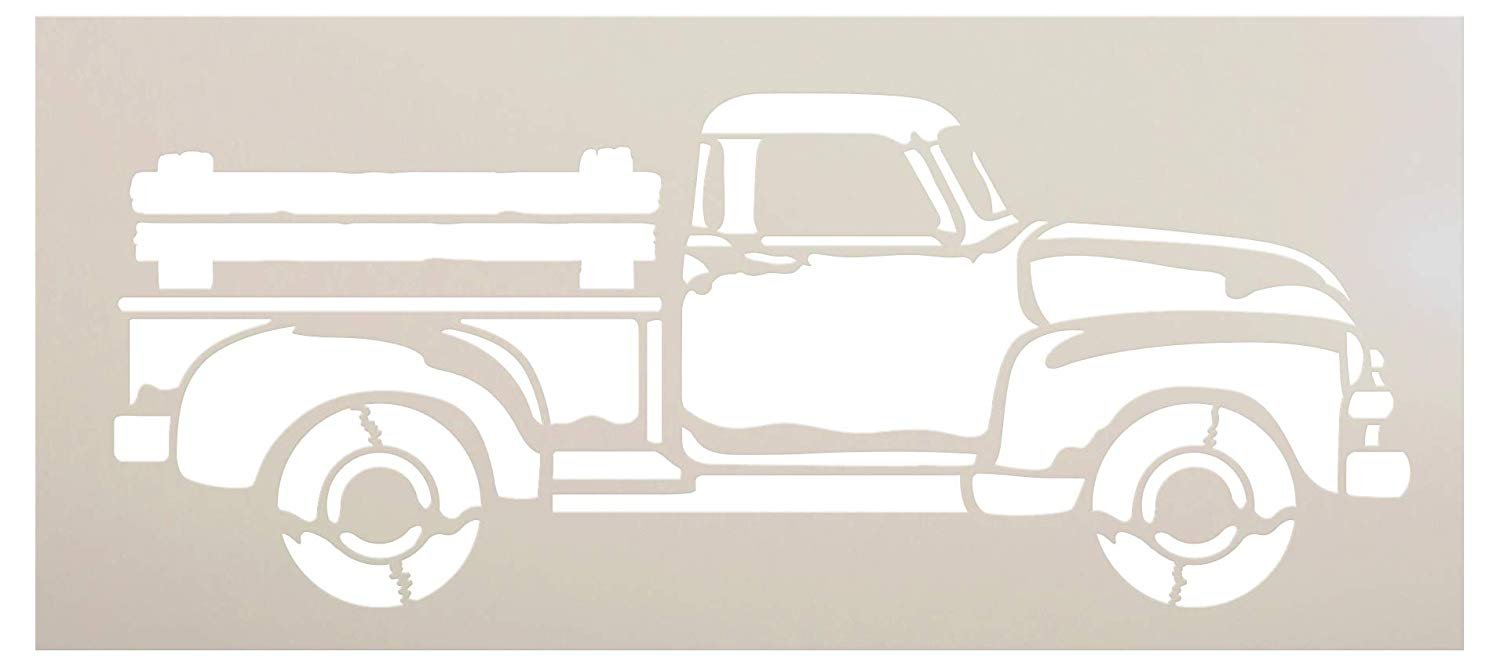 Old Red Truck Stencil with Wood Bed Rails by StudioR12 | Rustic Farmhouse Country Living Farm Life Vintage Decor | Reusable Mylar Template | Paint Wood Signs | DIY Home Craft | Select Size