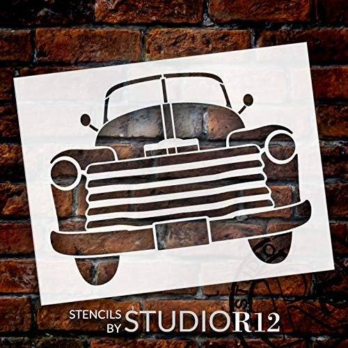 Front View Old Red Truck Stencil with by StudioR12 | Rustic Farmhouse Country Living Farm Life Vintage Decor | Reusable Mylar Template | Paint Wood Signs | DIY Home Crafting | Select Size