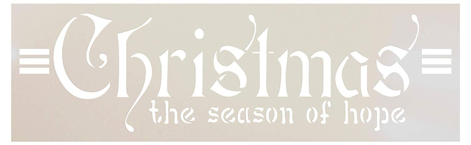 Season of Hope Stencil by StudioR12 | Reusable Mylar Template | Paint Wood Sign | Craft Rustic Vintage Farmhouse Christmas Decor | DIY Cozy Retro Holiday Winter Word Art Gift | Select Size