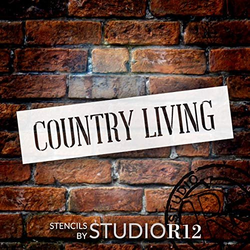 Country Living Stencil by StudioR12 - Horizontal - Wide | Reusable Mylar Word Template | Paint Wood Sign | Craft Farmhouse Home Decor - Porch - Kitchen | Rustic DIY Rural Gift | SELECT SIZE