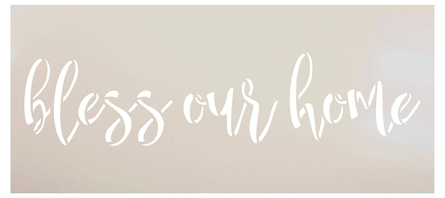 Bless Our Home Stencil by StudioR12   Cursive Script Word Art   Reusable Mylar Template   Paint Wood Sign   Craft Simple Home Faith Decor   Rustic DIY Farmhouse   Select Size - Small - XLG