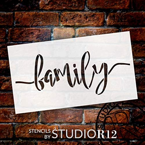 Family Stencil by StudioR12 | Cursive Script Word Art | Reusable Mylar Template | Paint Wood Sign | Craft Simple Home Decor | Rustic DIY Farmhouse Gift - Mother | Select Size - Small - XLG