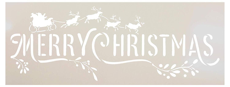 Merry Christmas Stencil by StudioR12 - Santa Sleigh - Reindeer - Mistletoe | Reusable Mylar Template Paint Wood Sign | Craft Holiday Home Decor Rustic DIY Farmhouse Select Size Small - XLG