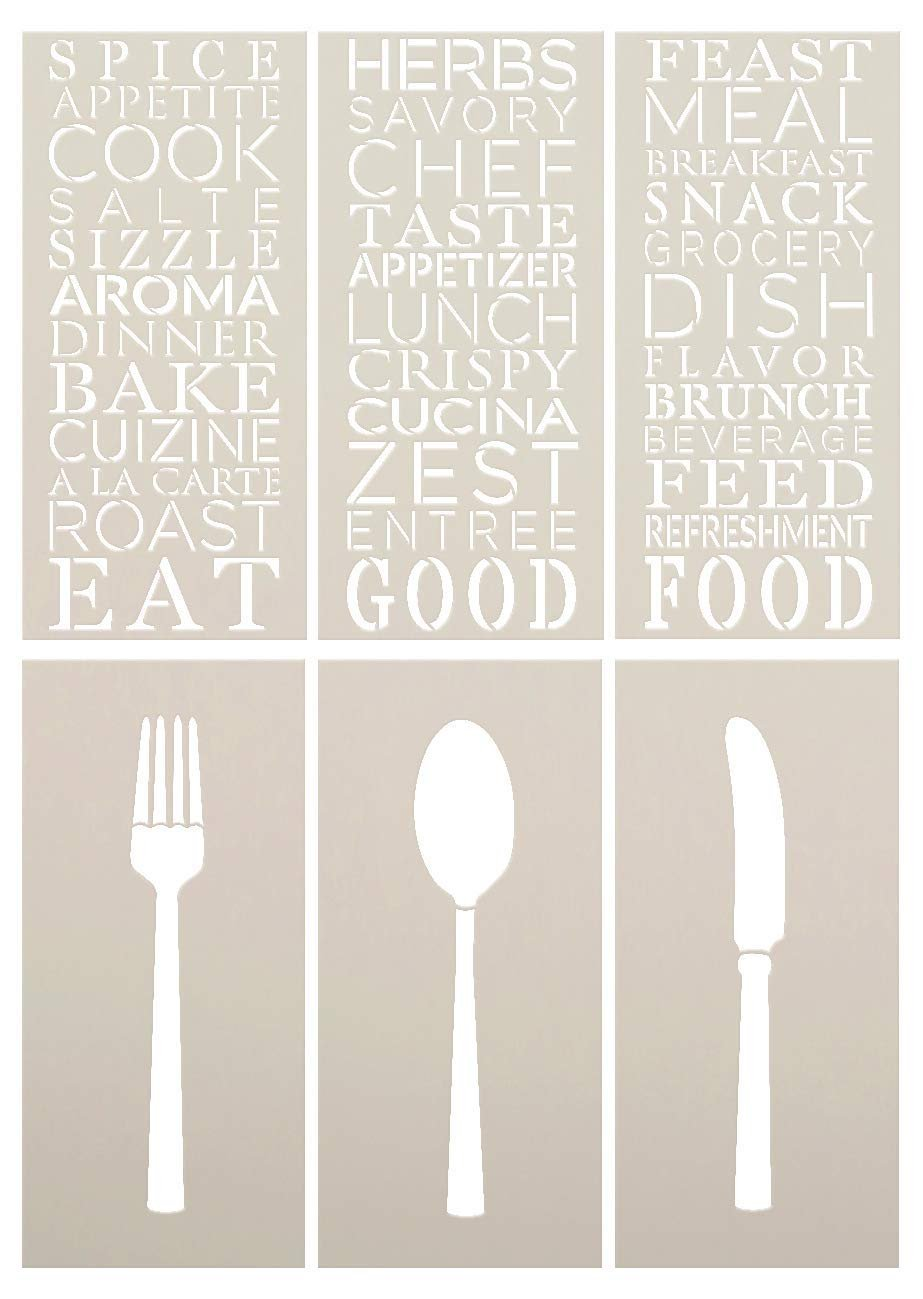 Silverware with Kitchen Background Words Stencil - 6 Part by StudioR12   Reusable Mylar Template   Use for Painting Wood Signs - DIY Kitchen & Dining Decor - Mixed Media   Select Size