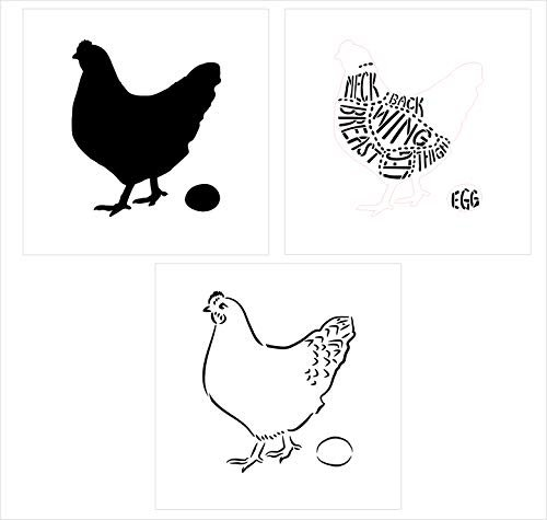 "Cuts of Chicken Stencil - 3 Part by StudioR12 | Reusable Mylar Template | Use to Paint Wood Signs - Pallets - Butcher Shop - DIY Country Decor - Select Size (18"" x 18"")"