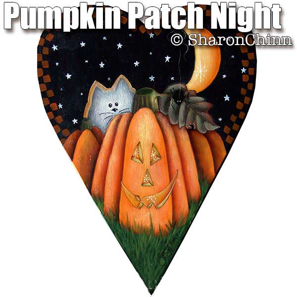 Pumpkin Patch Night Primitive Heart - E-Packet - Sharon Chinn