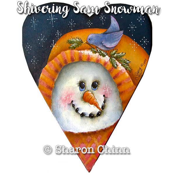 Shivering Sam Snowman Primitive Heart - E-Packet - Sharon Chinn