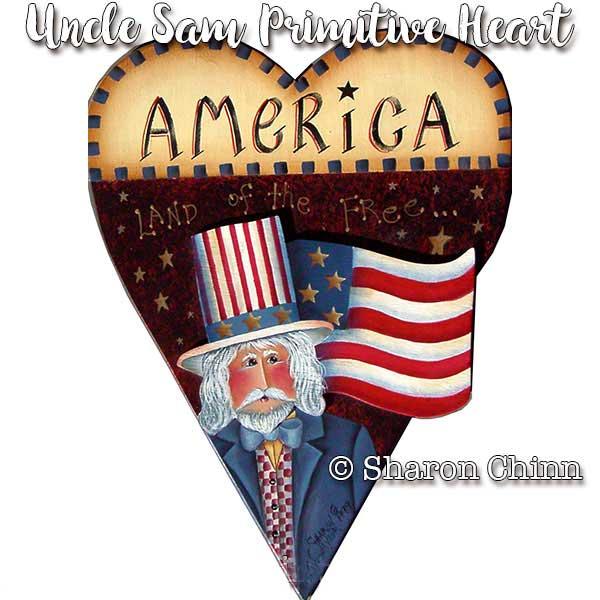 Uncle Sam Primitive Heart - E-Packet - Sharon Chinn