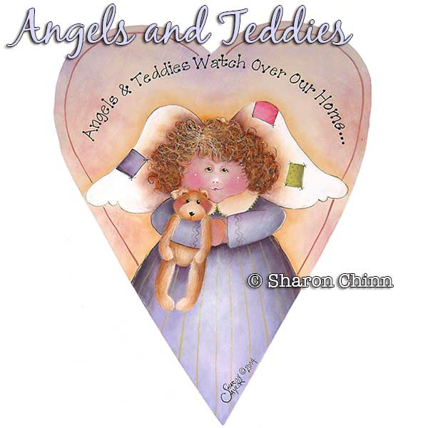 Angel and Teddy Primitive Heart - E-Packet - Sharon Chinn