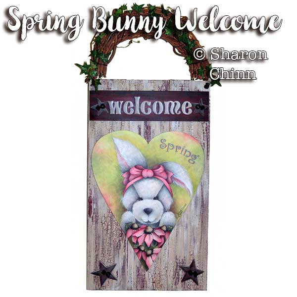 Spring Bunny Heart & Whitewashed Welcome Board- E-Packet - Sharon Chinn