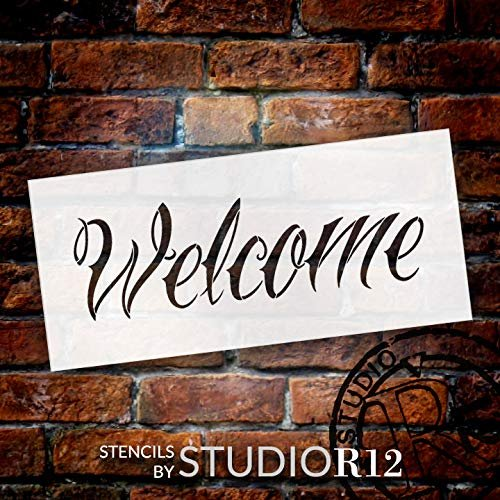 Welcome Stencil by StudioR12   Reusable Mylar Template   Use to Pain Wood Signs - Pallets - DIY Home Decor - Select Size