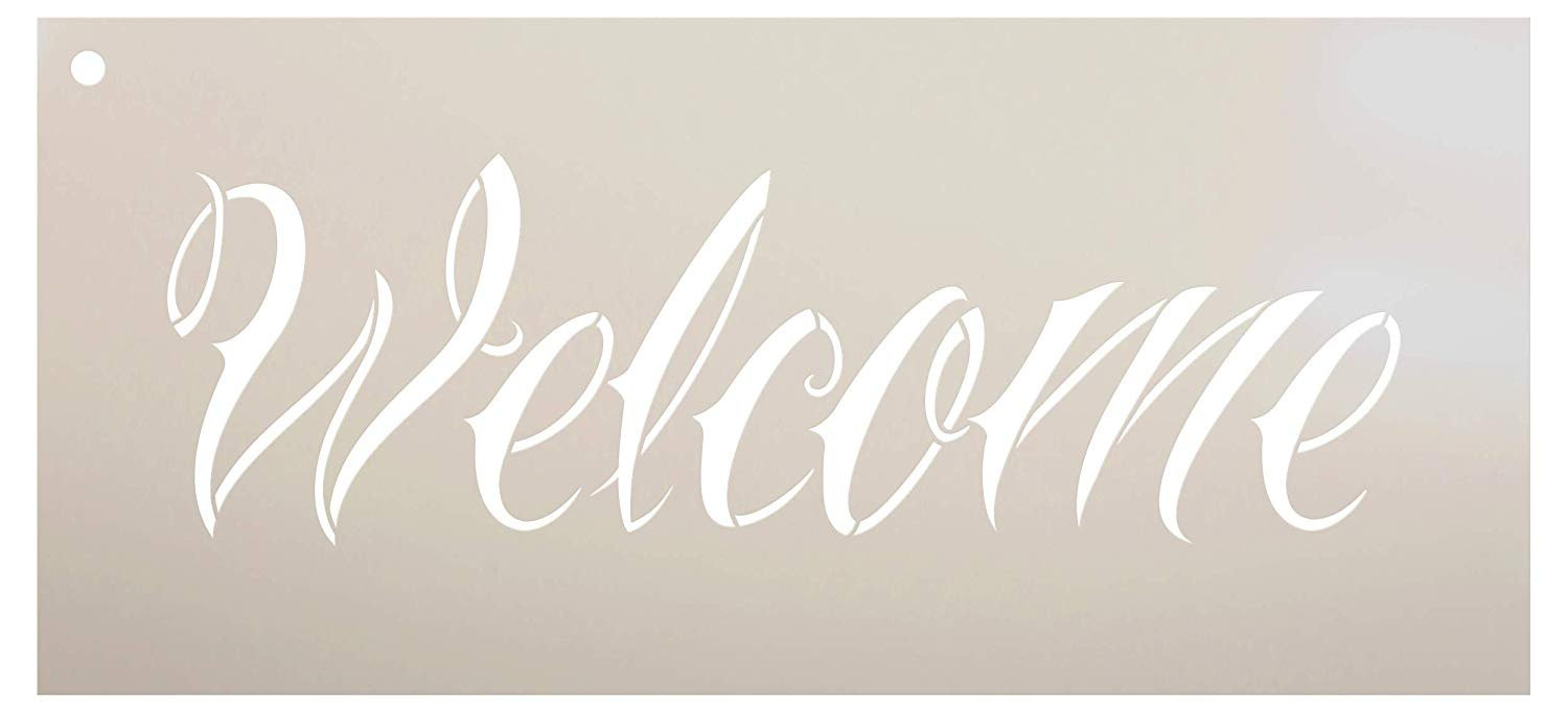 Welcome Stencil by StudioR12 | Reusable Mylar Template | Use to Pain Wood Signs - Pallets - DIY Home Decor - Select Size