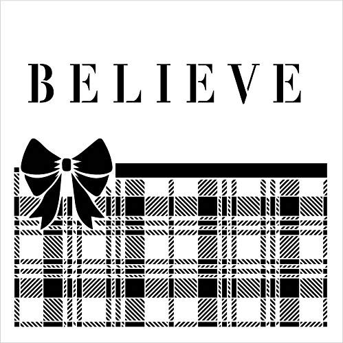 Believe Plaid Stencil with Bow by StudioR12 | Winter Christmas Holiday Decor Pattern Rustic Farmhouse | Reusable Mylar Template | Paint Wood Signs Chalk | DIY Home Crafting | Select Size