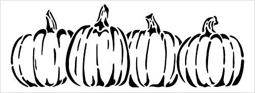 Pumpkins in A Row Stencil by StudioR12 | DIY Simple Rustic Fall Seasonal Harvest Gift | Craft Farm Fresh Thanksgiving Halloween | Paint Wood Sign | Reusable Mylar Template | Select Size