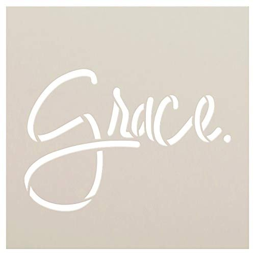 Grace Stencil by StudioR12 | Craft Simple Christian Hymn Gift Inspiration | DIY Faith Rustic Song Lyrics | Prayer Quote Truths | Paint Wood Sign | Reusable Mylar Template | Select Size