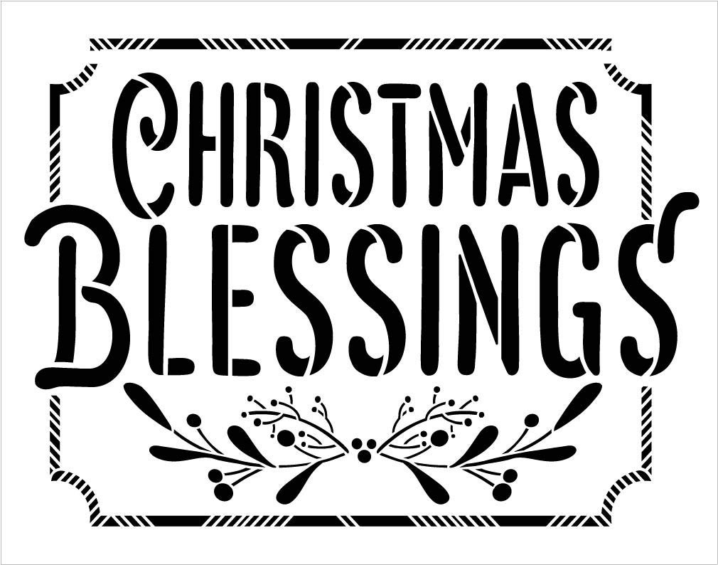 Christmas Blessings Stencil by StudioR12 | Buffalo Plaid with Mistletoe & Holly | Reusable Mylar Template | DIY Holiday Decor Gift | Paint Wood Signs | Home Crafting | Select Size