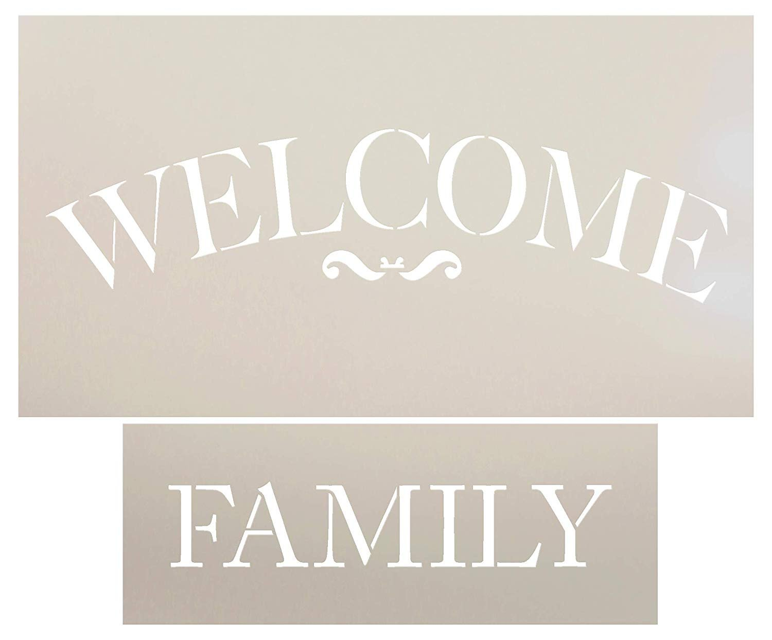 Welcome Family Arched Stencil Set - 2 Piece by StudioR12 | Reusable Mylar Template | Use to Paint Wood Signs - Walls - DIY Traditional Home Decor