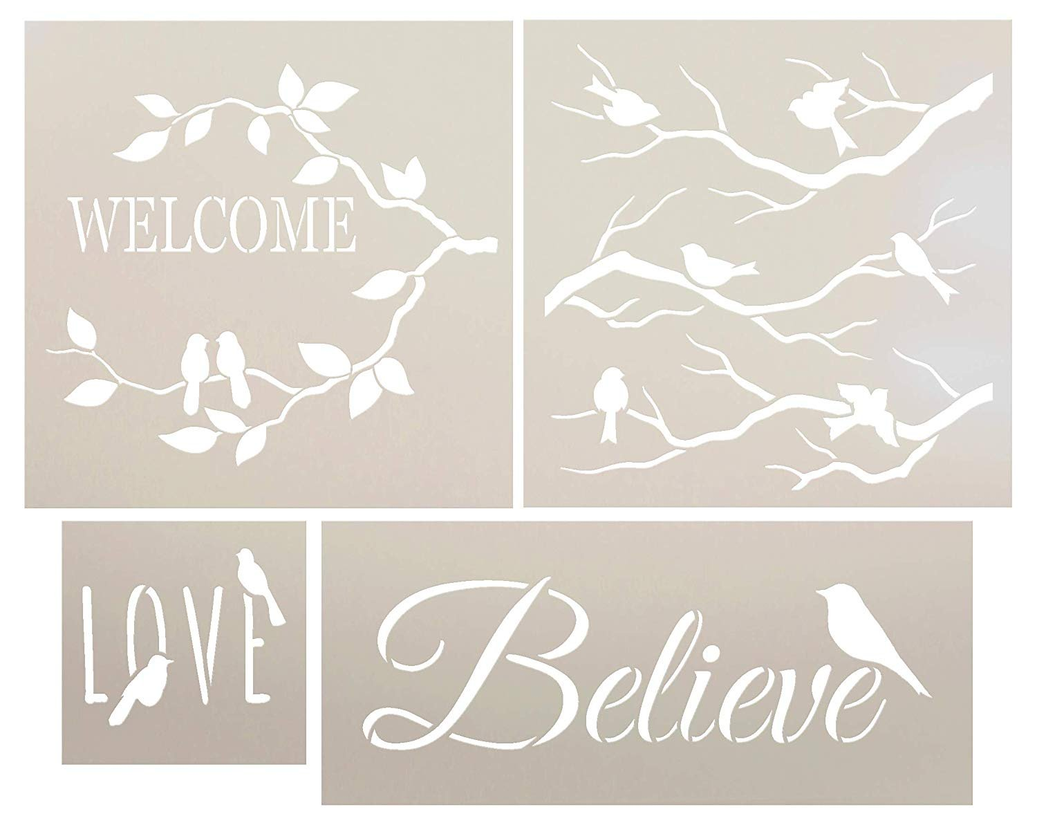 Birds of Expression and Love Welcome Stencil Set - 4 Piece Set by StudioR12 | Reusable Mylar Template | Use to Paint Wood Signs - Walls - Wreaths - DIY Home Decor