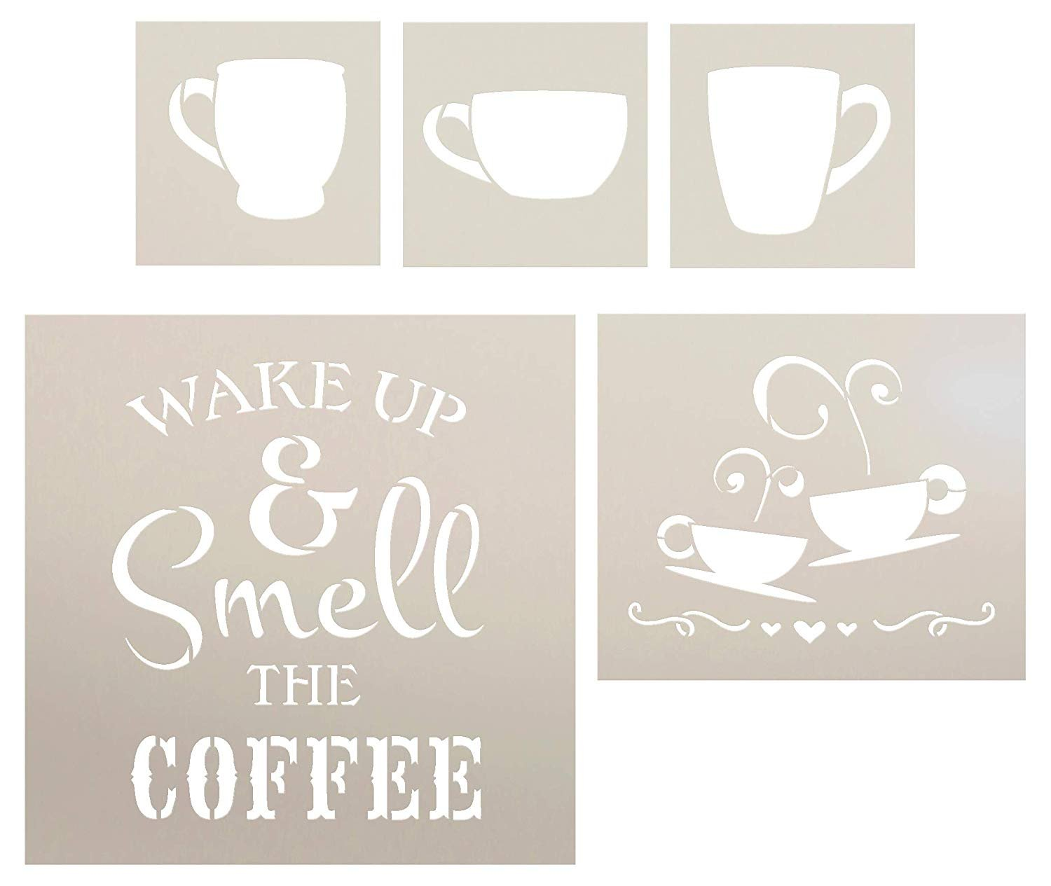 Wake Up and Smell The Coffee with Cups Stencil Set - 5 Piece by StudioR12 | Reusable Mylar Template | Use to Paint Wood Signs - Walls - DIY Modern Farmhouse Decor