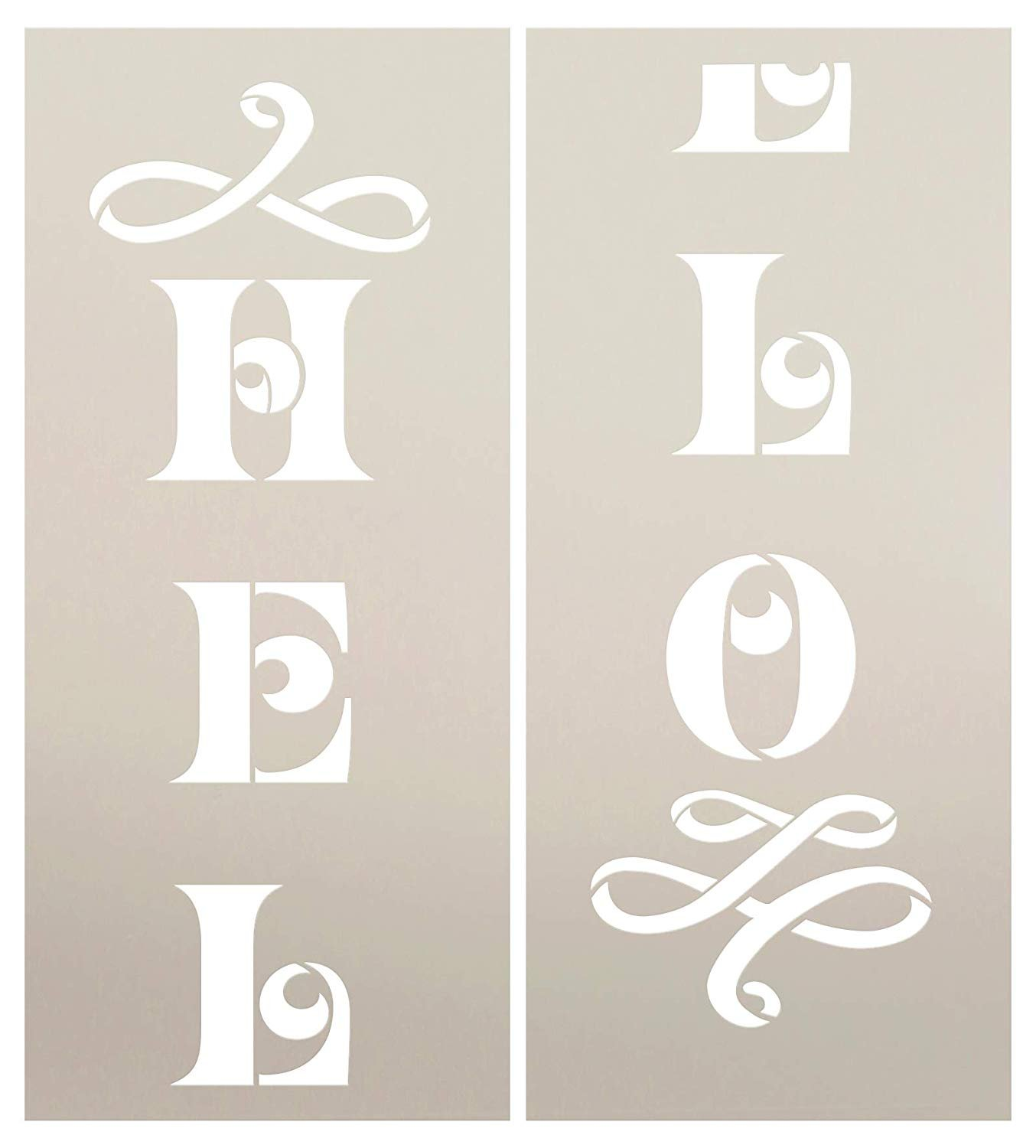 Hello Flourish Tall Porch Stencil by StudioR12 | 2 Piece | DIY Large Vertical Welcome Home Decor for Front Door or Entryway | Craft & Paint Wood Leaner Signs | Reusable Mylar Template | Size 4ft