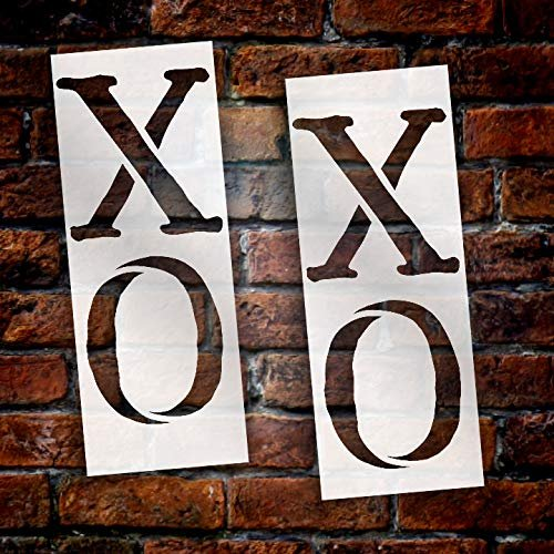 XO XO Tall Porch Stencil by StudioR12 | 2 Piece | Hugs & Kisses | DIY Large Vertical Home Decor for Valentine's Day | Front Door Entryway | Craft & Paint Wood Leaner Signs | Reusable Mylar | Size 4ft