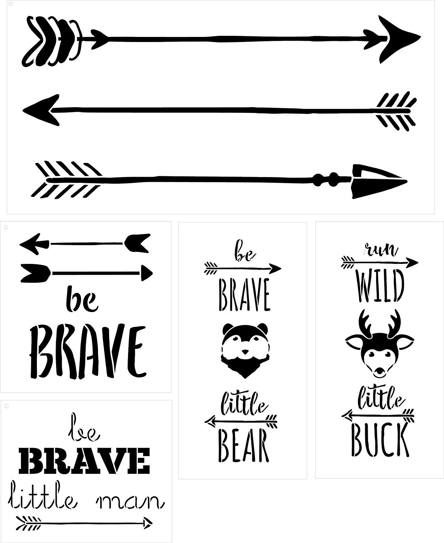 Be Brave Little Bear Run Wild Little Buck Rustic Arrow Animal Children's Room Stencil Set - 5 Piece by StudioR12   Reusable Mylar Template   Use to Paint Wood Signs - Walls - DIY Decor