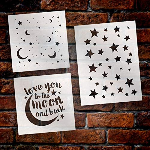 Love You to The Moon and Back - Stars & Moons Stencil Set - 3 Part by StudioR12 | Reusable Mylar Template | Use to Paint Wood Signs - Pillows - DIY Love Decor
