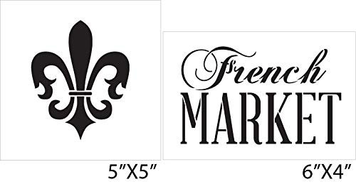 French Market Fleur De Lis - 2 Piece Stencil Set by StudioR12 | Reusable Mylar Template | Use to Paint Wood Signs - Walls - DIY Kitchen Pantry Decor