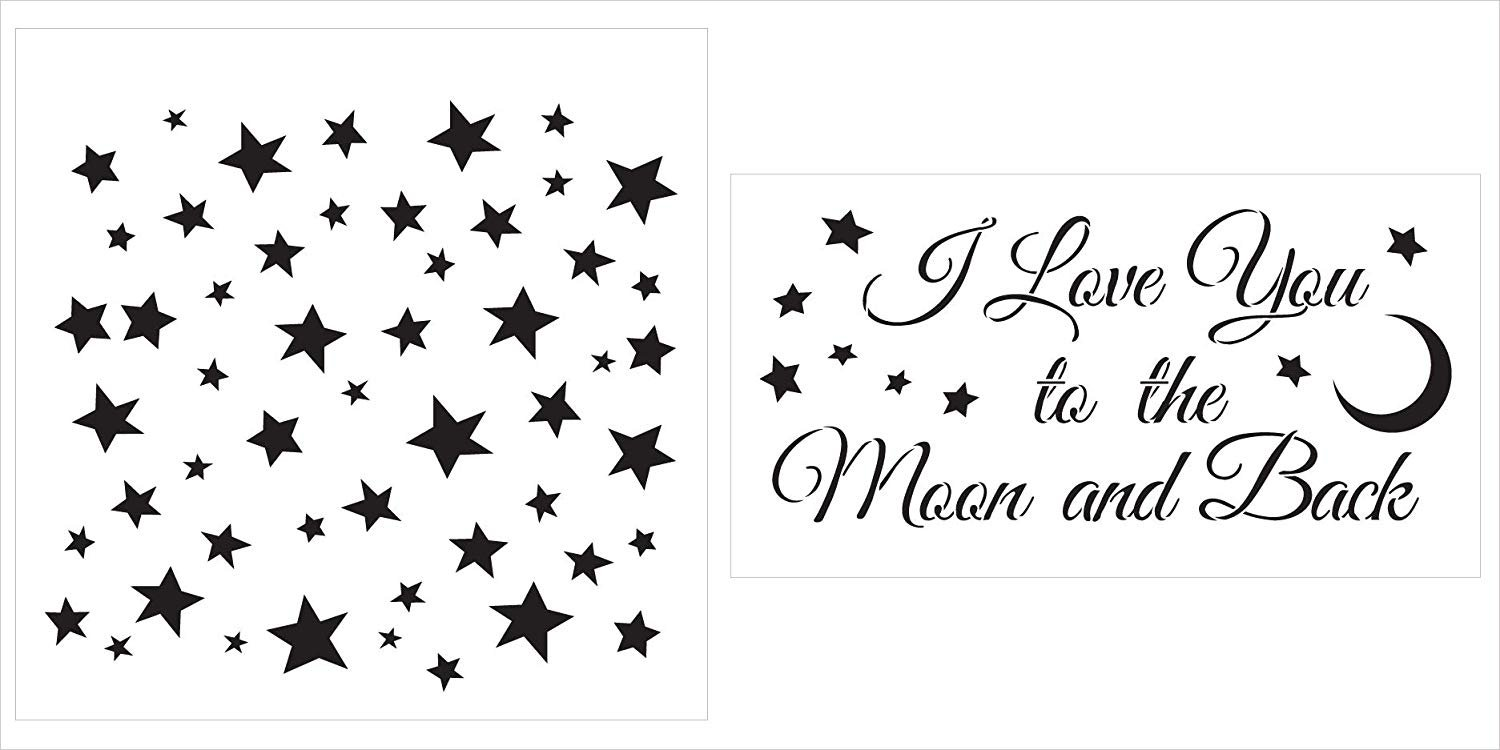 I Love You to The Moon and Back & Funky Stars Stencil Set - 2 Part by StudioR12 | Reusable Mylar Template | Use to Paint Wood Signs - Pillows - DIY Love Decor