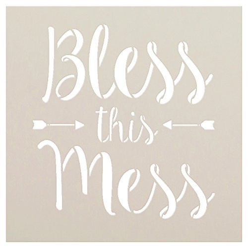 Bless This Mess Stencil by StudioR12 | Reusable Mylar Template | Use to Paint Wood Signs - Pallets - Wall Art - Pillow - DIY Home Decor - SELECT SIZE