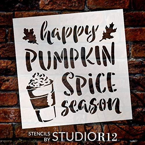 Happy Pumpkin Spice Stencil by StudioR12 | DIY Seasonal Latte Coffee Shop Leaves | Craft Cursive Gift Simple Rustic Autumn Harvest Mug Food | Reusable Mylar Template | Paint Wood Sign