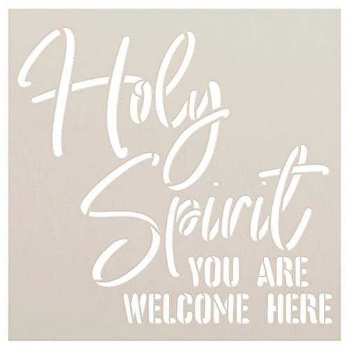 Holy Spirit You are Welcome Here Stencil by StudioR12   Faith Craft Christian Cursive Rustic Front Porch   DIY Song Lyrics Quotes Inspiration   Reusable Mylar Template     Paint Wood Sign