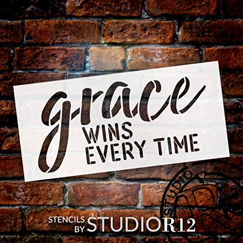 Grace Wins Stencil by StudioR12 | Paint Wood Sign | Reusable Mylar Template | Craft Simple Cursive Faith Home Decor | DIY Rustic Blessed Christian Quote Inspiration & Prayer