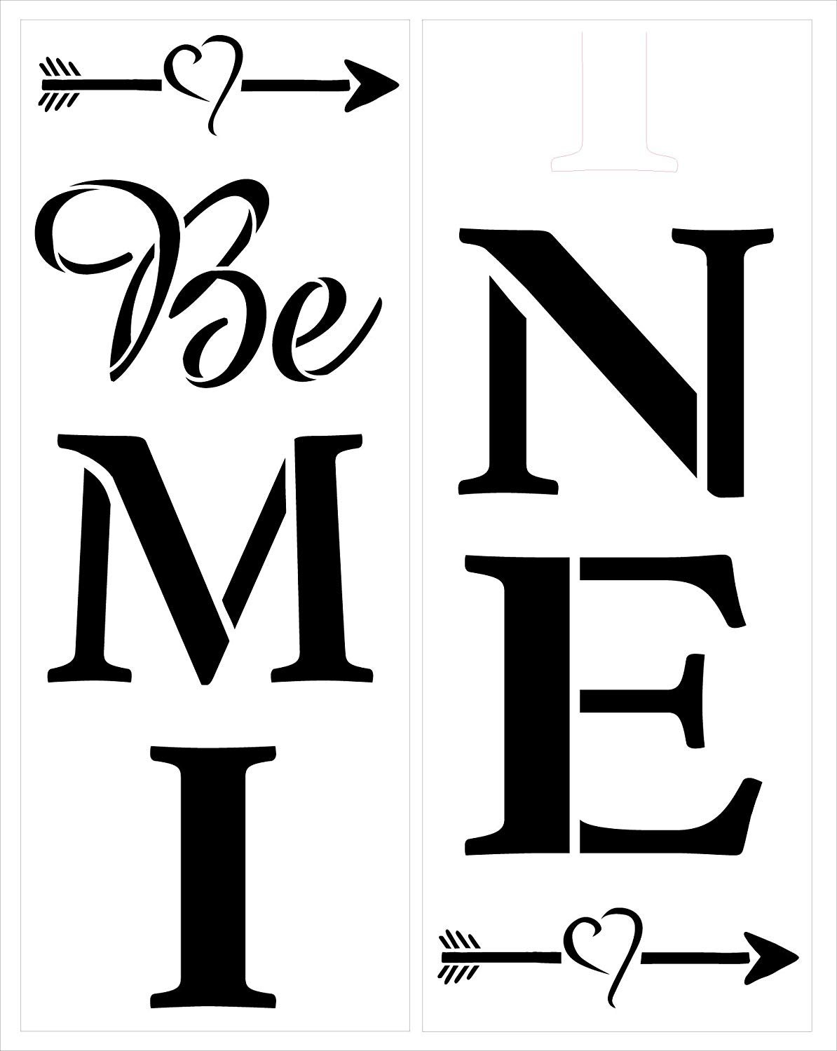 Be Mine Tall Porch Stencil with Heart & Arrows by StudioR12 | 2 Piece | DIY Large Vertical Outdoor Home Decor for Valentine's Day | Craft & Paint Wood Leaner Signs | Reusable Mylar Template | Size 4ft