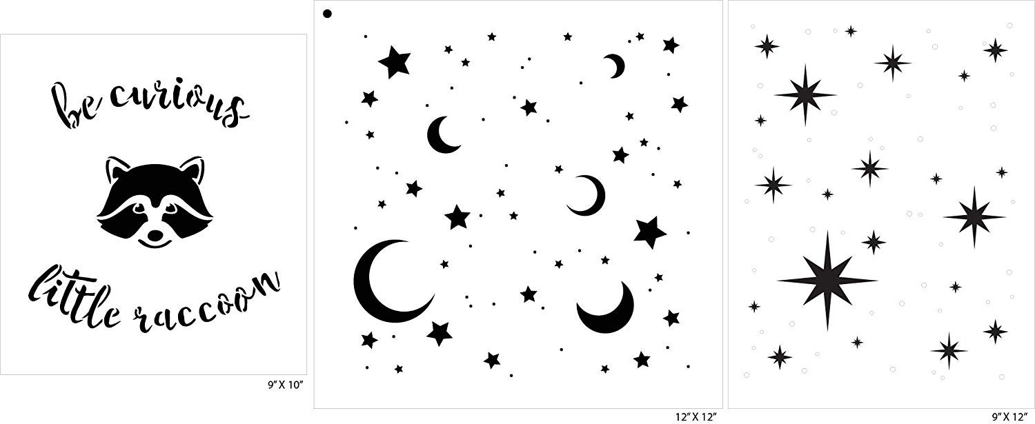 Be Curious Little Raccoon Moon and Stars Stencil Set - 3 Piece by StudioR12 | Reusable Mylar Template | Use to Paint Wood Signs - Walls - Tables - DIY Child's Bedroom Wall | Playroom