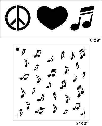 Peace Love & Music Notes Stencil Set 2 - Piece by Studio R12 | Fun Hip Art For Music Lovers | Painting, Chalk, Mixed Media | Use for Journaling, DIY Home Decor - CMBN433