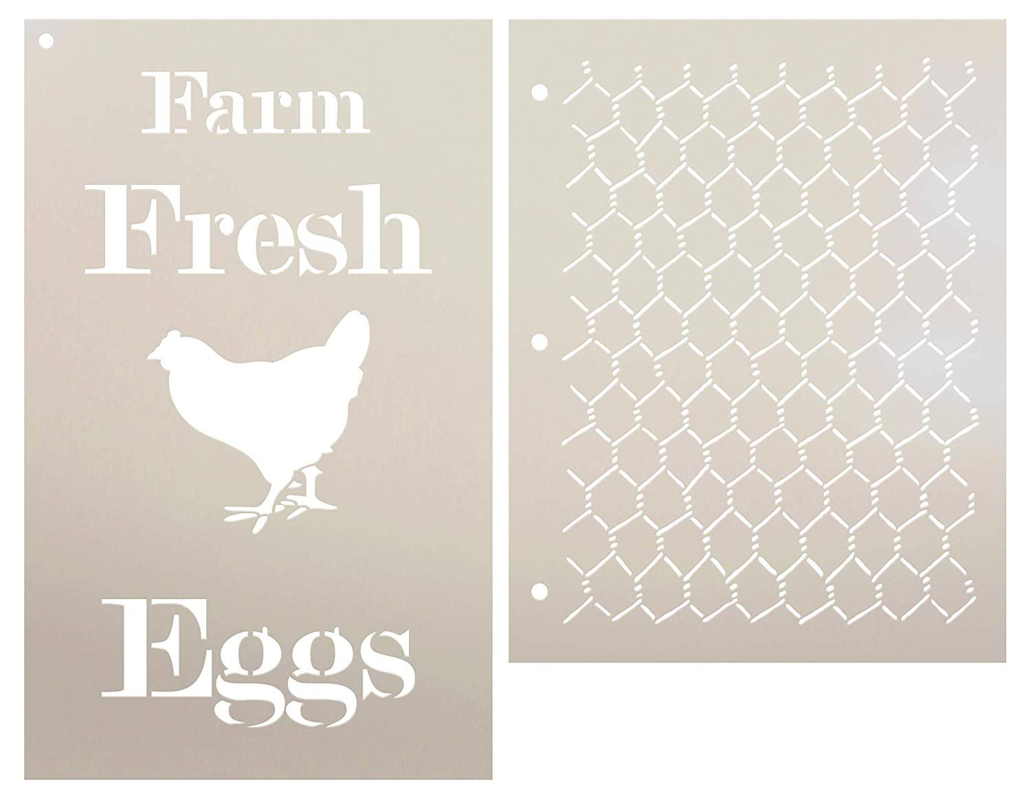Farm Fresh Eggs Chicken Wire Stencil Set - 2 Piece by StudioR12 | Reusable Mylar Template | Use to Paint Wood Signs - Walls - Tables - DIY Kitchen Decor