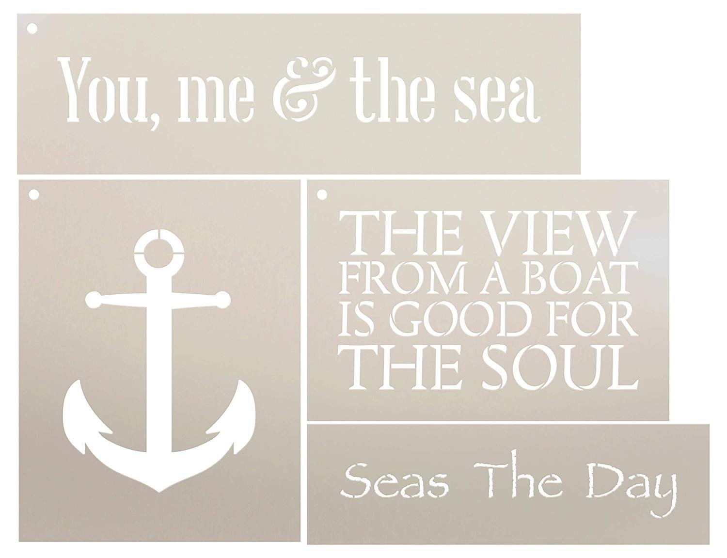 You Me and The Sea Nautical Anchor Stencil Set - 4 Piece by StudioR12 |  Reusable Mylar Template | Use to Paint Wood Signs - Walls - Tables - DIY
