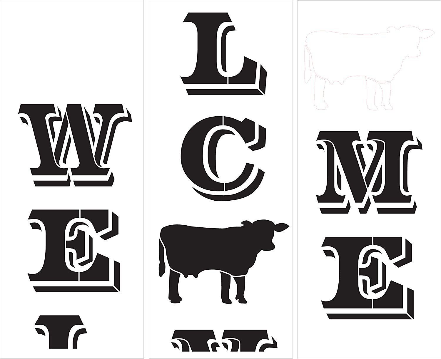 Welcome Tall Porch Stencil with Cow by StudioR12 | 3 Piece | DIY Large Vertical Outdoor Farmhouse Home Decor | Front Door Entryway | Craft & Paint Wood Leaner Sign | Reusable Mylar Template | Size 6ft