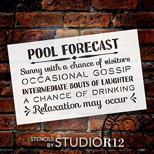 Pool Forecast - Sunny with a Chance of Visitors Stencil by StudioR12 | Reusable Mylar Template | Use to Paint Wood Signs - Front Door - Entry - Porch - DIY Summer Decor