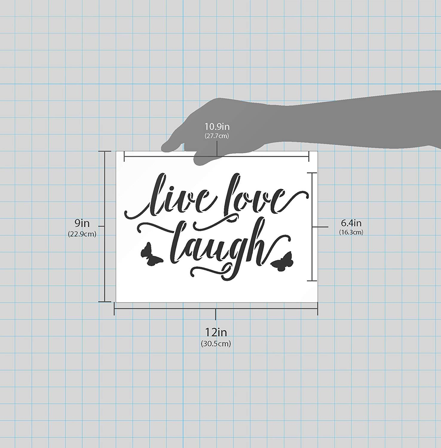 Live Love Laugh with Butterflies Stencil by StudioR12   Reusable Mylar Template   Use to Paint Wood Signs - Wall Art - Pallets - Pillows - DIY Home Decor