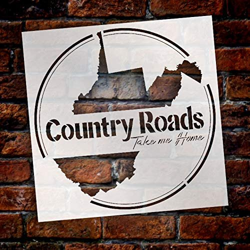 Country Roads Take Me Home - Round Stencil by StudioR12 | Reusable Mylar Template | Use to Paint Wood Signs - Pallets - Pillows - Plaques - DIY Farm & Country Decor