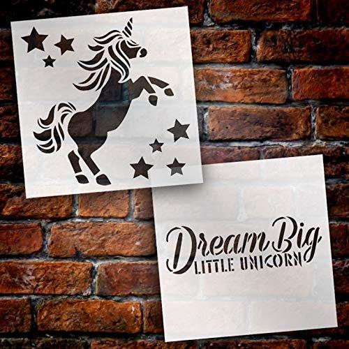 Dream Big Little Unicorn Stencil - 2 Part by StudioR12 | Reusable Mylar Template | Use to Paint Wood Signs - Pallets - Pillows - T-Shirt - DIY Children's Decor