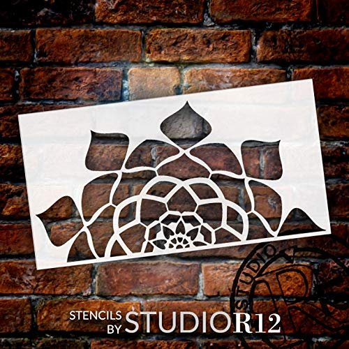 Mandala - Hypnotic - Half Design Stencil by StudioR12 | Reusable Mylar Template | Use to Paint Wood Signs - Pallets - Pillows - Wall Art - Floor Tile