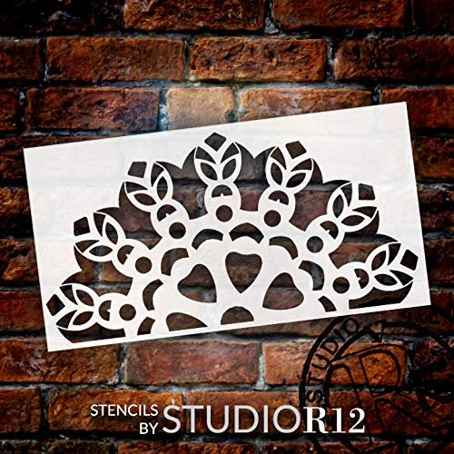 Mandala - Tiki - Half Design Stencil by StudioR12 | Reusable Mylar Template | Use to Paint Wood Signs - Pallets - Pillows - Wall Art - Floor Tile