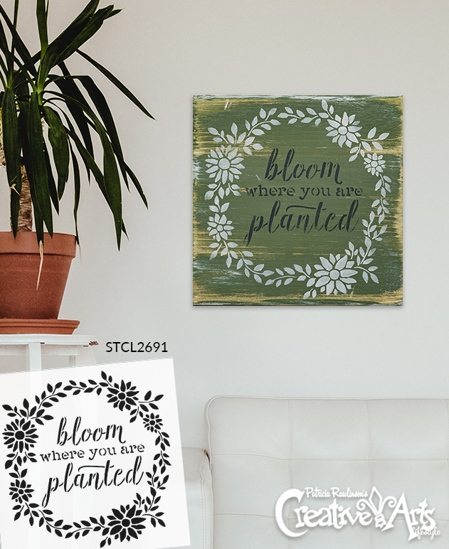 Bloom Where You are Planted Stencil by StudioR12 | Wood Signs | Word Art - Reusable Mylar Template | Painting Chalk Mixed Media | Use for Journaling, DIY Home