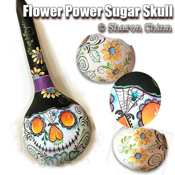 Flower Power Sugar Skull Gourd - E-Packet - Sharon Chinn
